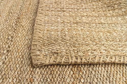 HAMID Jute Teppich - Granada Teppich 100% Natürliche Jutefaser - Weicher Teppich und Hohe Festigkeit - Handgewebt - Wohnzimmer, Esszimmer, Schlafzimmer, Flurteppich - Natürlich (110x60cm) - 4