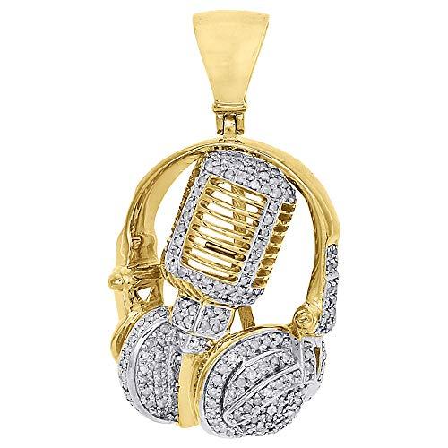 1.32Ct ronde diamant mannen microfoon hoofd hanger ketting geel goud verguld zilver