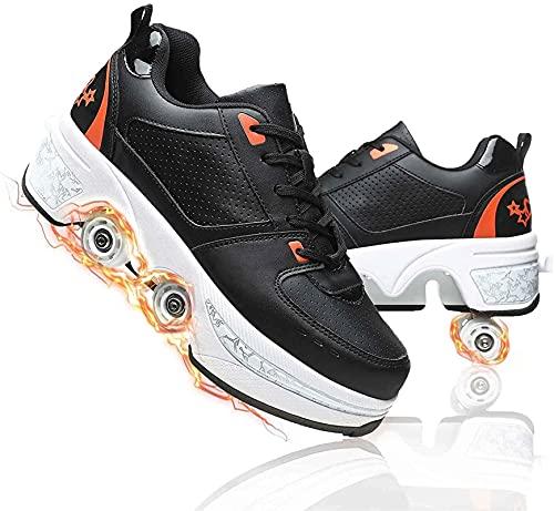 Patines Patines de rodillos de deformación Polea invisible Zapatos automáticos para caminar con rueda de deformación de doble fila para hombres adultos masculinos. ( Color : Black orange , Size : 35 )