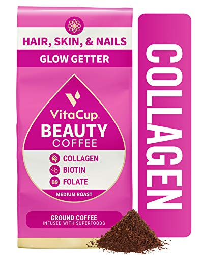 VitaCup Beauty Ground Coffee with Collagen, Biotin & B Vitamins for Hair Skin and Nails, Drip Coffee Brewers and French Press, 12 Ounces
