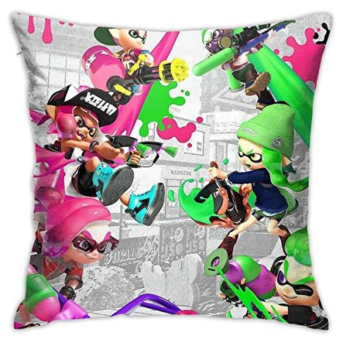 Splatoon 2 – Marina Chibi Home Dekorative Dekokissenbezüge Bett Sofa Couch Kissen quadratischer Kissenbezug 45,7 x 45,7 cm