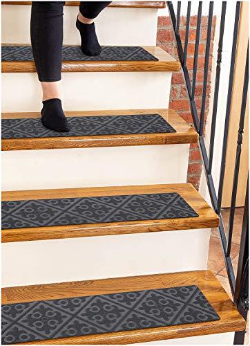 """Carpet Stair Treads Non-Slip Gray Embossed – 8""""x30"""" (15-Pack) Runners for Wooden Steps"""