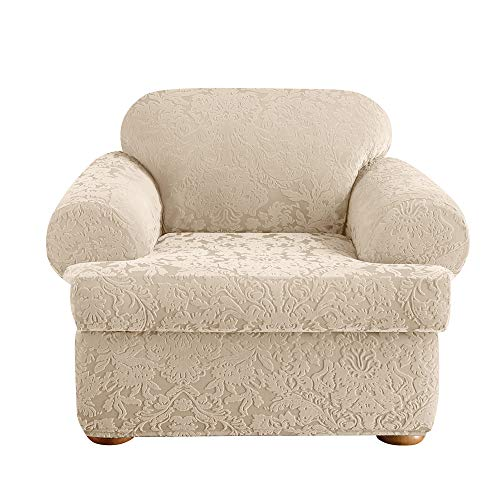 Surefit Stretch Jacquard Damask T-Cushion Chair Two Piece Slipcover, Form Fit, Polyester/Spandex, Machine Washable, Oyester Color