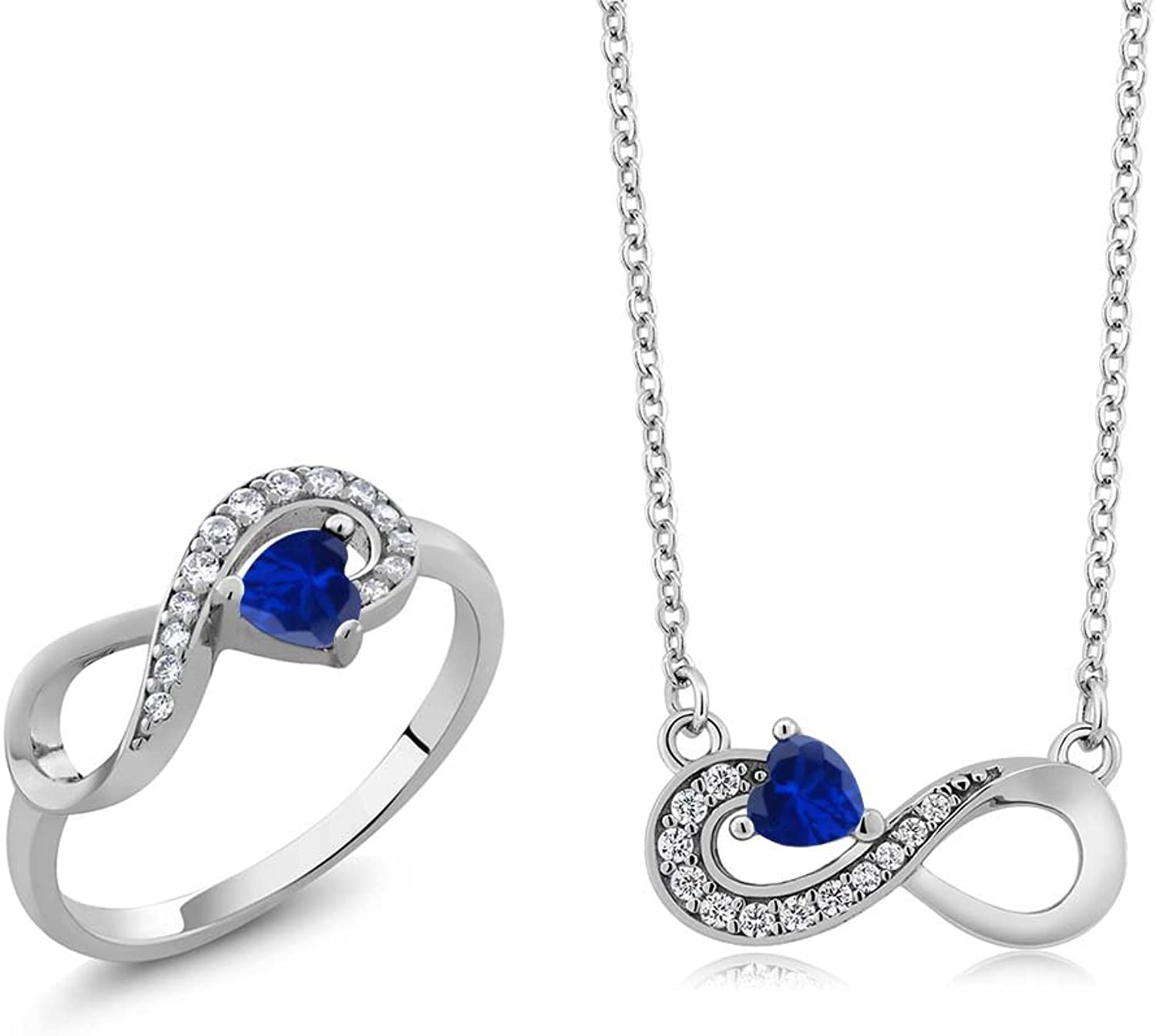 1.25 Ct Heart Shape bluee Simulated Sapphire 925 Silver Ring Pendant Set