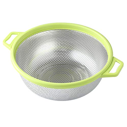 Stainless Steel Colander With Handle and Legs, Large Metal Green Strainer for Pasta, Spaghetti,...
