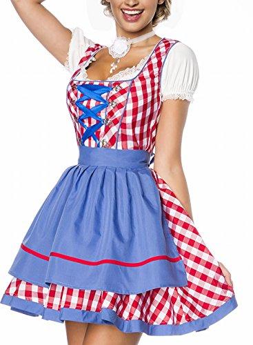 Onbekend Dirndl jurk kostuum met schort minidirndl met ruitmotief en uitgereikte rokdeel Oktoberfest Dirndl rood/blauw/wit