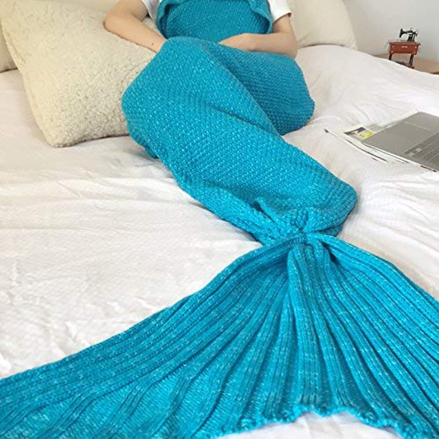 JINGB Home Mermaid Knit Mermaid Tail Sofa Birthday Gift, purple bluee, 195  95CM (76.8  37.4 inch) (color   The bluee, Size   195  95CM)