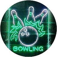 Bowling Game Room Dual Color LED看板 ネオンプレート サイン 標識 白色 + 緑色 210 x 300mm st6s23-i3291-wg
