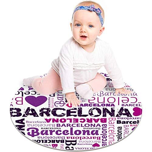 Alfombra redonda para gatear de bebé gruesa para niños, alfombra de juego con impresión 3D, alfombra suave acolchada de 60 cm, lavable a máquina - Barcelona Quotes