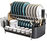 2 Tier Large Dish Drying Rack, Boosiny 304 Stainless Steel Dish Rack and Drainboard Set for Kitchen Counter, Big Dish Drainer with Tray, Cutting Board Holder, Utensil Holder and Cup Holder(Side Drain)