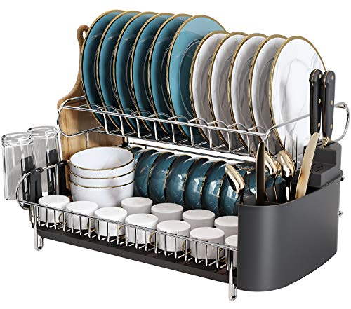 Kitchen Dish Rack, Boosiny 2 Tier Large 304 Stainless Steel Dish Drying Rack with Drainboard Set Utensil Holder Dish Drainer, Cutting Board Holder and Dish Racks for Counter