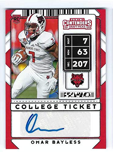 OMAR BAYLESS 2020 Panini Contenders Draft Picks #295 AUTOGRAPH Football Rookie Card RC Arkansas State Red Wolves Carolina Panthers