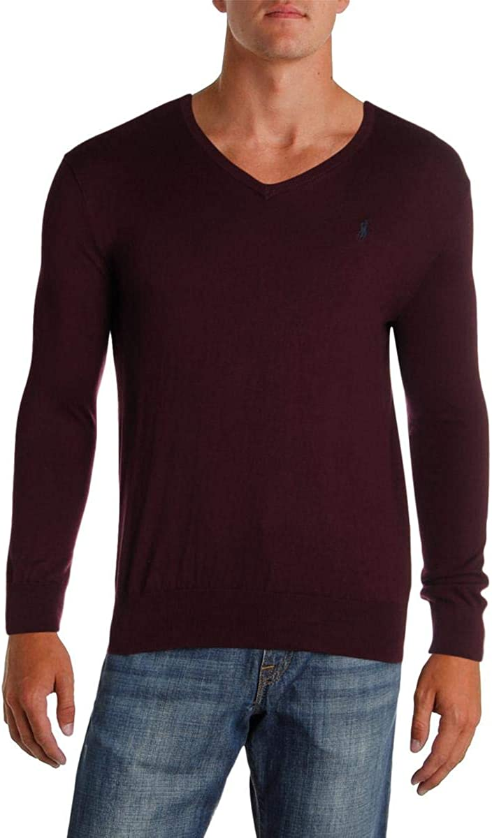Ralph Lauren Mens LS Knit Pullover Sweater, Red, Small
