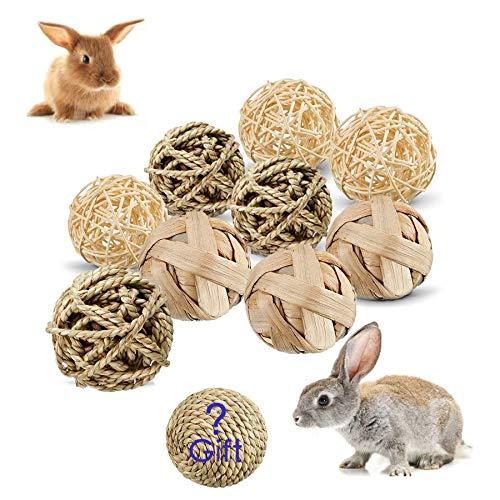 Juguetes para Masticar Conejos, Natural Bola de Hierba, Bola para Conejos, Suministros para Mascotas, Mascotas Bolas de Limpieza de Dientes, Masticación Mascota Juguete (A)