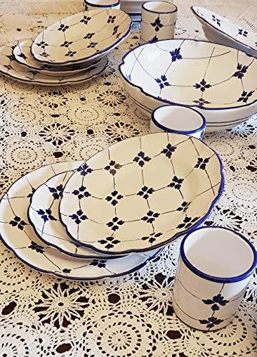 Piatti Vietri Ceramica vietrese Linea Nonna Lina 6 Bicchieri 6 Piatti Piani 6 Piatti Fondi 6 Piatti Frutta