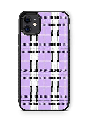 XUNBOTINGS for iPhone 11 Case -Purple Lavender Plaid Design Patterns -Soft TPU Luxury Tempered Mirror Protective iPhone Case (for 11)
