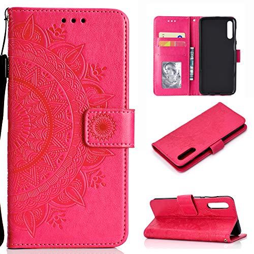 HTDELEC Custodia Samsung Galaxy A50/A30S/A50S Rosso Premium Pu Portafoglio Protettiva in Pelle,Anti-Slip Slot…