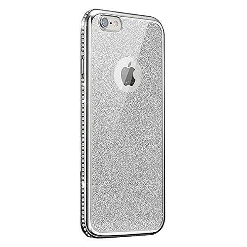 Surakey Cover Compatibile per iPhone 6 Plus/6S Plus Glitter Brillante Silicone Custodia con Bordo Placcato Lusso Strass Bling Ultra Sottile Morbida Gomma Crystal Clear Protettiva Bumper Case,Argento