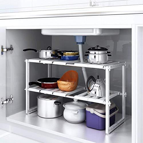 Home-Neat Küchen Unterschrankregal flexibel Spülschrankregal Küchenregal Steckregal mit 2 Etagen in der Höhe verstellbar für den Spülbeckenunterschrank