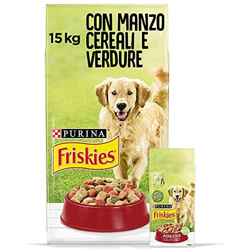 PURINA FRISKIES Crocchette Cane Adulto con Manzo, Cereali e Verdure Aggiunte, 15 kg