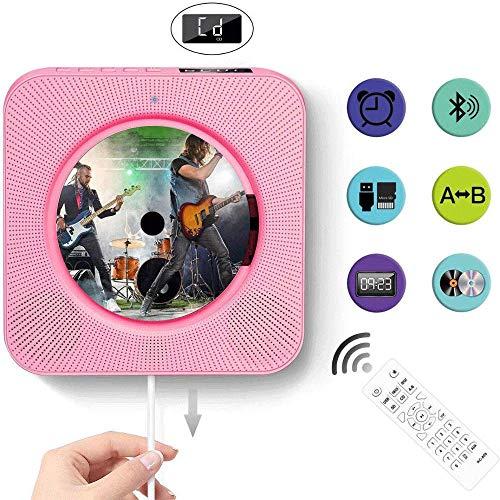 POWERFULM Bluetooth Reproductor de CD, con el Altavoz Reproductor de CD con función de Radio de la Ayuda U-Dish TF Tarjeta Niños Aprendizaje automático con Control Remoto,Rosado
