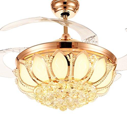 % kroonluchter LED onzichtbare fan kristallen kroonluchter, restaurant stille ventilator verlichting woonkamer slaapkamer met ventilator kroonluchter instelbare dimmer + afstandsbediening