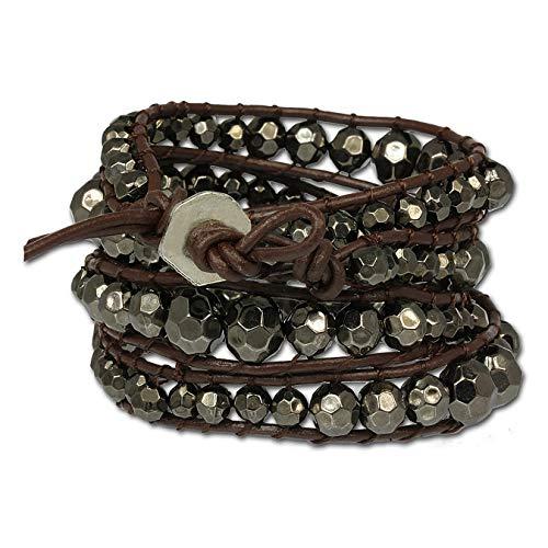 Correa de piel SilberDream de color plateado y gris de metal-perlas para...