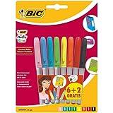 BIC Marking Marcadores Permamentes colores Vivos y Pastel punta media (1,8 mm) - colores Surtidos, Blíster de 6+2