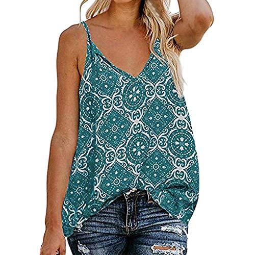 CAOQAO Frauen Sling V-Ausschnitt Sleeveless Strap Print Down Front beiläufige lose Hemden Tops(Grün,XL)