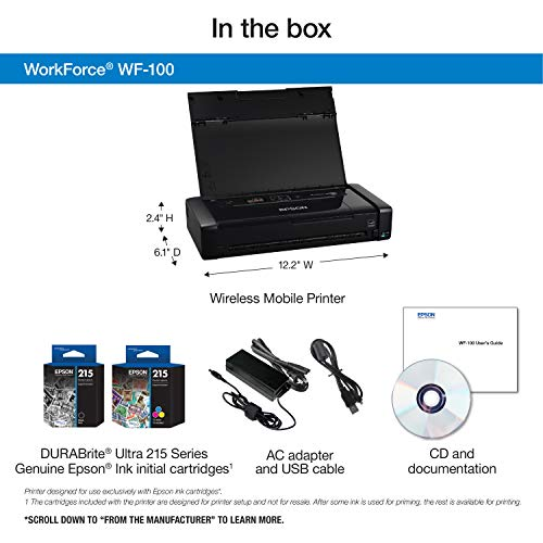 Epson Workforce WF-100 Wireless Color Mobile Printer, Compatible with Alexa (Renewed) Photo #6