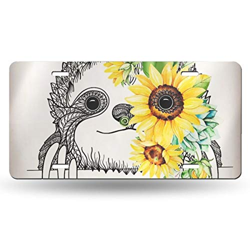 Dujiea License Plate Aluminum, Sketch Sloth Sunflower Car Tag Cover Decorative License Plates for Front of Car Durable Metal Car Plate for Women/Girls/Men/Boys Vanity Gifts, 6 X 12 in