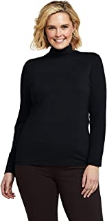 Lands' End School Uniform Women's Plus Size Lightweight Fitted Long Sleeve Turtleneck