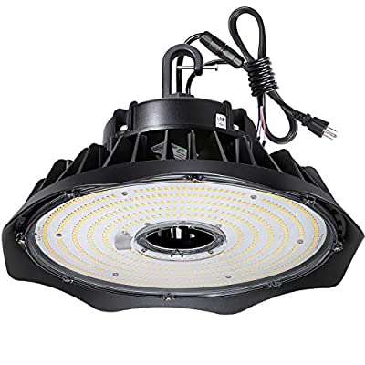 240W UFO LED High Bay Light Fixture, 31200lm 1-10V Dimmable 5000K 5' Cable with US Plug [400W/1000W MH/HPS Equiv.] Commercial Warehouse/Workshop/Wet Location Area Light