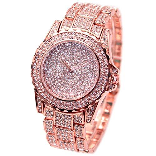 bodhi2000 de la mujer Oro rosa banda de acero inoxidable reloj de pulsera Casual vestido pulsera Rhinestone Relojes