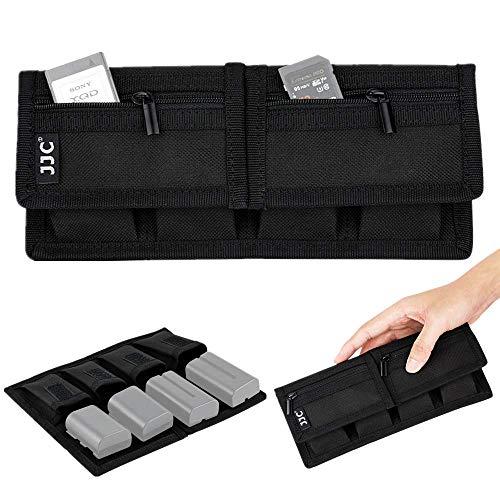 Memory Card Case Holder Storage for SD SDHC SDXC Micro SD XQD Cards + 4 Camera Battery Slots for Canon LP-E6 LP-E17 Sony NP-F550 NP-FW50 NP-FZ100 Fujifilm NP-W126 Nikon EN-EL15 EN-EL14