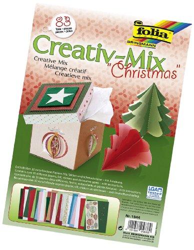 folia 1944 - Creativ Mix Christmas, 83 Teile - handliches Bastelset mit verschiedensten Materialien