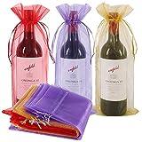 30 bolsas de vino de organza, bolsa de regalo para botellas de vino con cordón para bodas, fiestas de cumpleaños, festivales, regalos de decoración (rojo, dorado y morado, 750 ml)