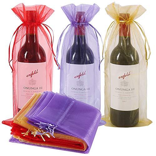 30 Stück Weinbeutel Organza, Weinflasche Geschenktüte mit Kordelzug für Hochzeitsgeburtstagsfeier Festival Geschenkbevorzugungen Dekor (Rot + Gold + Lila, 750ML)
