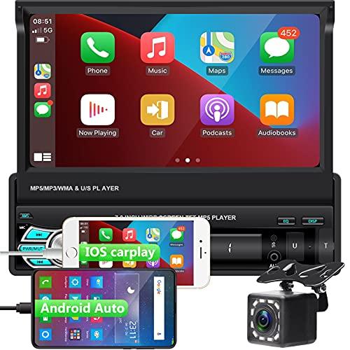 1DIN Radio de Coche Bluetooth CarPlay y Android Auto Pantalla táctil de 7 Pulgadas, Reproductor de Coche con cámara de visión Trasera +Controlador de Volante, Soporte Mirror Link/Radio FM/TF/USB /AUX