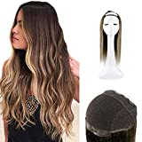 Full Shine Natural Hair Wigs Balayage Dip Dye U Part Wig 12 Inch 100 Gram Color #4 Fading To Color #24 Highlight #4 Blonde Wigs Lace Human Wigs U Shape Hair Piece