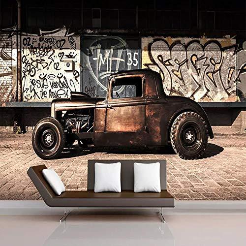 Benutzerdefinierte Größe Wallpaper Mural Fototapete 3D Retro Graffiti Nostalgie Altes Auto Restaurant Cafe Wohnzimmer Hintergrund Wanddekor 3D Tapete Wandbild 350cmx256cm