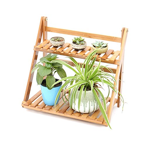 Bamboo Folding Flower Rack Multilayer Mini Desktop Balconies Stand Bonsai Pot de fleurs en bois Shelf Display (taille : 39cm*23cm*36cm)