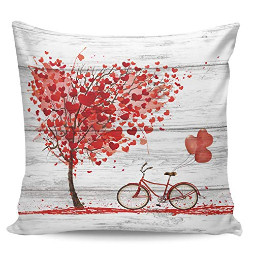 Scrummy Fundas de almohada de 50,8 x 50,8 cm, diseño de árbol de amor para bicicleta, diseño retro de madera, para decoración del hogar