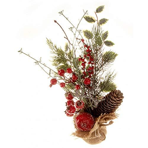 Corsage Creations - Kersttafel Top Arrangement - Rood (30cm lang)