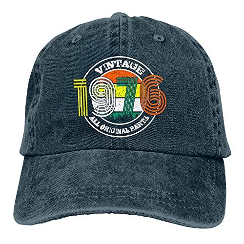 Leumius Hecho en 1976 todas las piezas originales 3 Unisex sombrero, suave gorra de béisbol vintage ajustable lavable gorra de vaquero, azul marino, Talla única