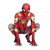 MYYLY Niños Niños Iron Spiderman Disfraces 3D Imprimir Cosplay Mono Halloween Carnaval Vengadores Body Traje De Disfraces para Fiesta Onesies Disfraz,Red Gold-Kids(100~110cm)