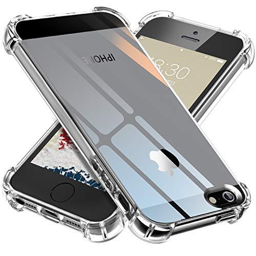 ONES 高透明 iPhone 5/5s/SE ケース 耐衝撃 超軍用規格 『エアバッグ、ストラップホール』〔滑り止め、すり傷防止、柔軟〕〔美しい、光沢感、軽·薄〕 衝撃吸収 HQ·TPU クリア カバー