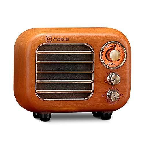 Retro Radio Vintage Bluetooth Speaker-Greadio Cherry Wooden FM Radio with Bluetooth 4.2 Connection,...