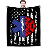 Joyloce Firefighter EMT Throw Blankets Birthday Gift Ideas for Men Dad Husband Son Friend 60'x50' - Fireman Firewoman EMS Blanket for Fire Fighter FD Department First in Last Out Responder