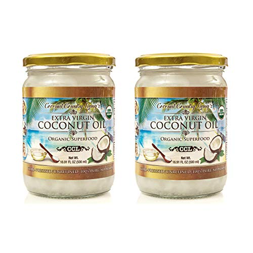 Organic Coconut Oil, Extra Virgin Unrefined Cold-Pressed, 2 Pack of 16.91 oz for Cooking, Hair and Skin Lotion